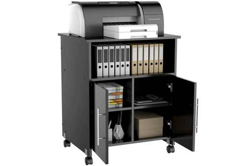Yaheetech Black Rolling Printer Stand Cart with Storage