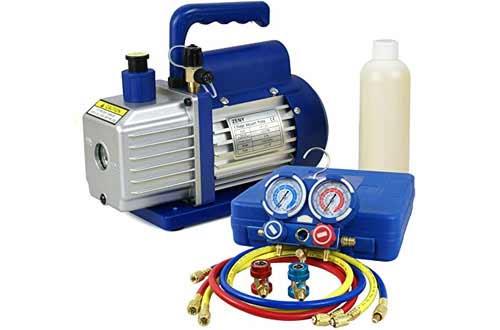 F2C 3.5CFM 1/4HP HVAC Air Vacuum Pump Kitwith AC Refrigeration Gauge