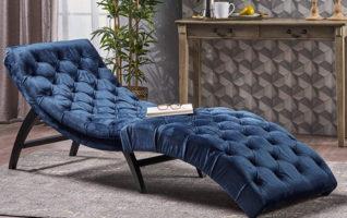 Christopher Knight Home Garamond Cobalt Velvet Chaise Lounge