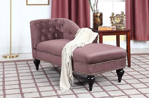 Divano Roma Furniture Velvet Indoor Moder Chaise Lounge