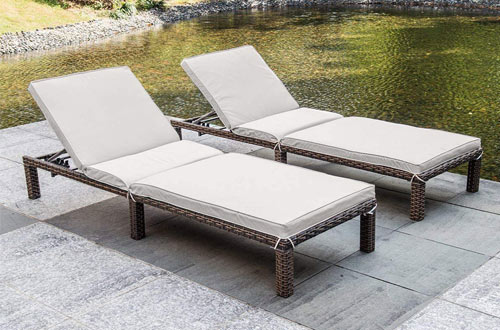 MAGIC UNION Patio Adjustable Wicker Chaise Loungewith Cushions