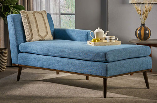 Mid Century Modern Muted Blue Fabric Chaise