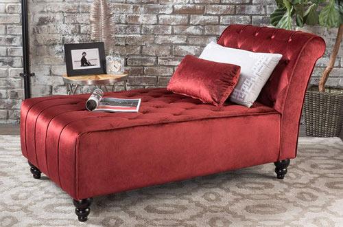 GDF Studio Rafaela Button-Tufted Velvet Chaise Lounge