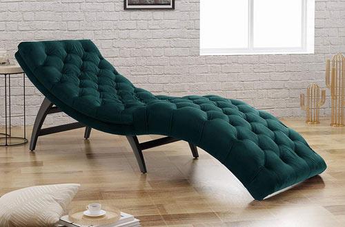 Grasby Tufted Teal Velvet Modern Chaise Lounge