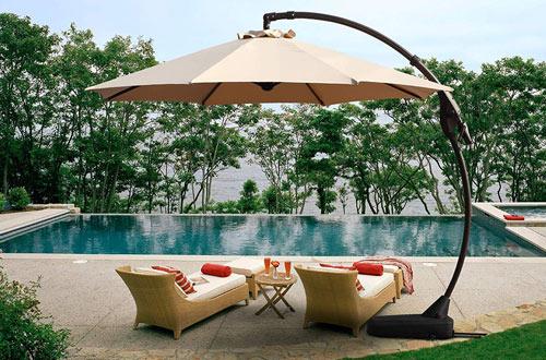 Patio Cantilever Umbrella with Base