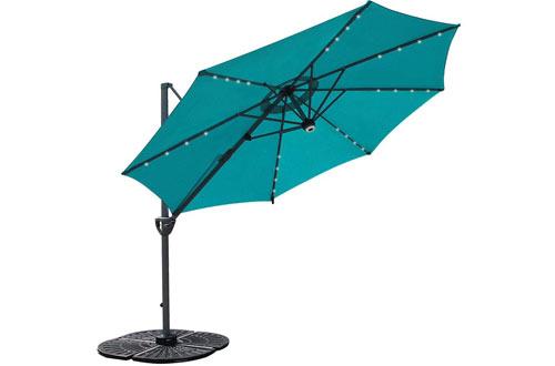 COBANA 10-feet Offset Patio Umbrellawith Solar Powered 32LED