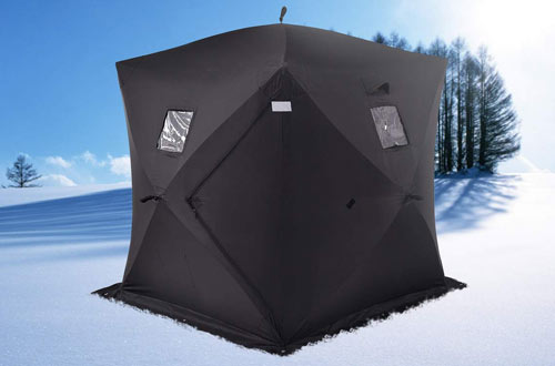 Tangkula2-PersonPop-up Ice Shelter -Waterproof Ice Fishing Tent