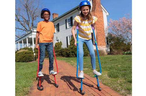 HearthSong Amazing Feats Adjustable Metal Walking Stilts for Kids