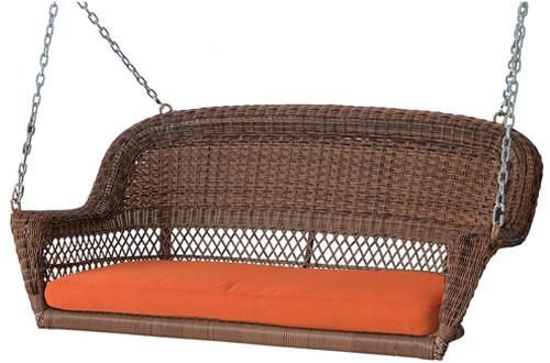 Jeco W00205S-C-FS016 Brown Wicker Porch Swings