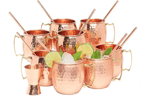 Kitchen Science Moscow Mule Mugswith Straws and Jigger Set
