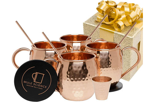 HANDCRAFTEDMoscow Mule Mugs &Copper Cups with Cocktail Copper Straws