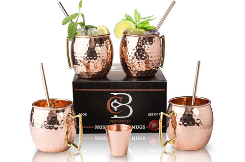 Copper-BarHammeredSolid CopperMoscow Mule Mugs