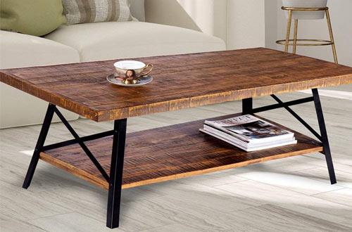 Olee Sleep Cocktail Wood and Metal Legs - Rustic Coffee Table
