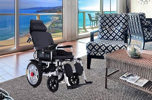 LJMGD Portable Electric Wheelchairs with Headrest