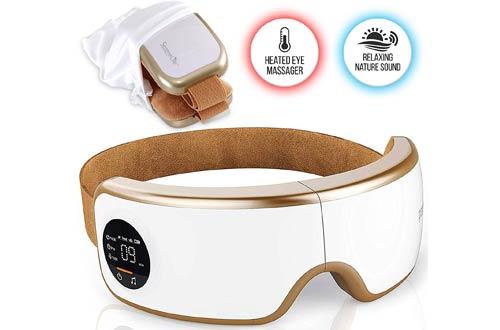 SereneLifeStress Therapy Electric Eye Massagers - Wireless Digital Mask Machine with Heat Compress