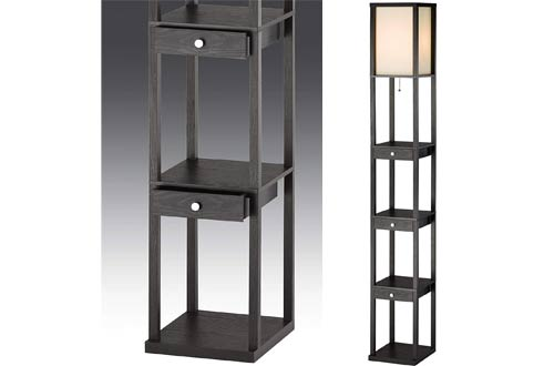 Adesso Murray Tall Floor Lamps with Storage Shelves and Drawers