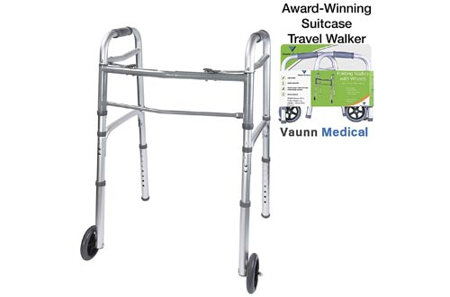 Vaunn Medical Folding Walkers with Wheels, Adjustable Height and Detachable Legs