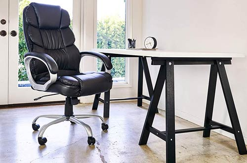 BestOffice Comfortable Ergonomic Office Chair - Rolling Leather Computer Chair
