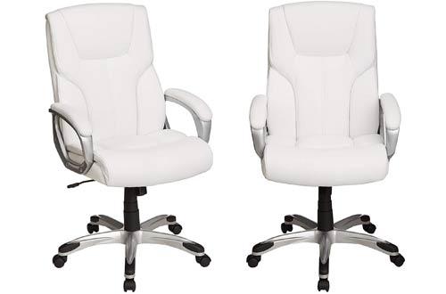 AmazonBasics White Office Chair -High Back Swivel Office Desk Chair