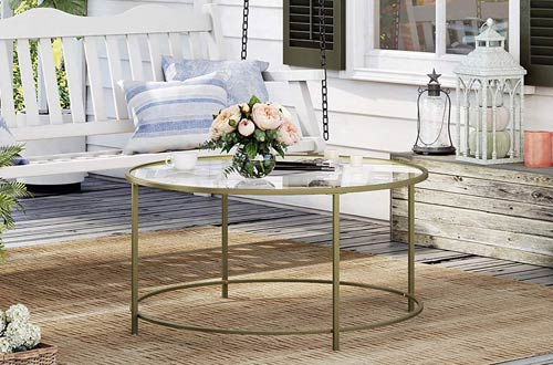 VASAGLE Living Room Round Glass Coffee Tables with Robust Tempered Glass