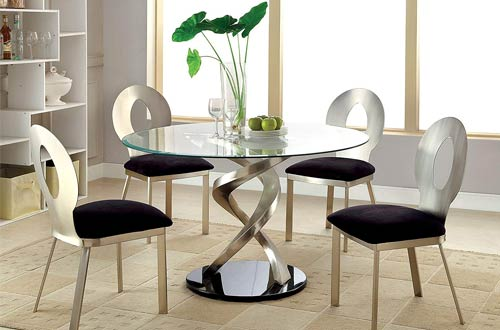Furniture of America Catarina Piece Round Glass Dining Tables