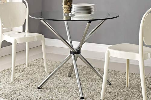 Modway Baton Kitchen Round Glass Dining Tables