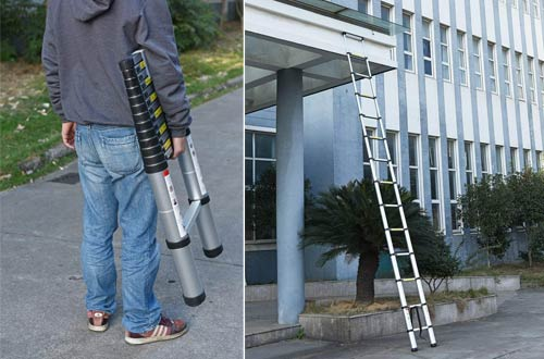 10.5FT//3.2M EN131 One-Button Telescopicing Extension Portable Ladder Aluminum Stretch Tall Straight Multi-Purpose Non-Slip 330lbs Capacity for Indoor Out Door Work ZhanGe Telescopic Ladder