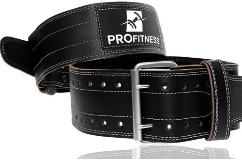 ProFitness Genuine Leather Workout Belt - Lower Back Support for Squats & Deadlifts