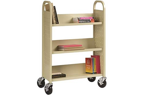 Hirsh Home Office Single-Sided Sloped Shelves Book Carts with Lockable Wheels