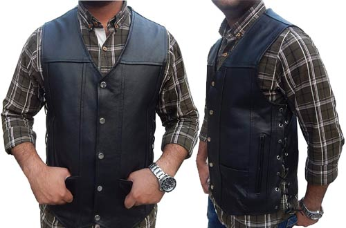 2Fit Men's Leather Motorcycle Vests with Pockets