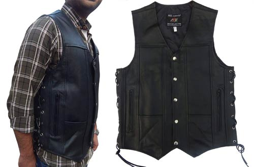 4Fit Black Genuine Leather Motorcycle Vests