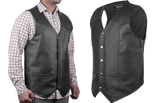 DEFY SPORTS Black Leather Motorcycle Vests with Gun Pockets