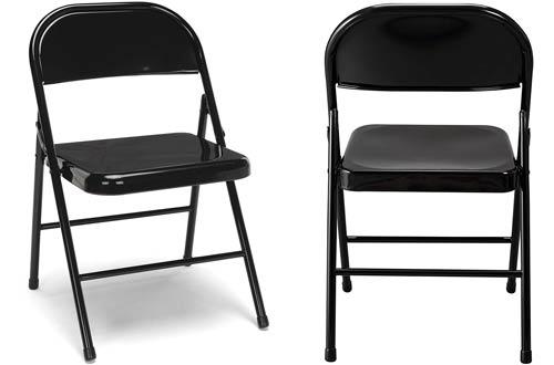 OFM Essentials Black Metal Folding Chairs