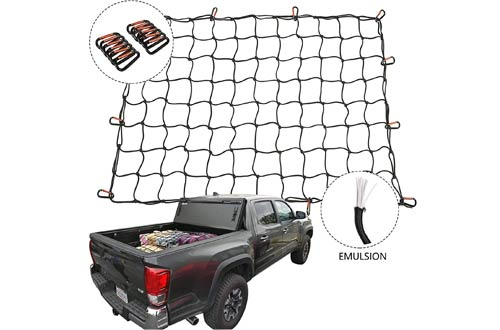 """XCAR 4 X 6 Heavy Duty Bungee Cargo Net for Truck Bed Stretches to 8 x 12 with 12pcs Aluminium Hooks for Pickup Truck Bed Trailer SUV Rooftop Travel Luggage Rack 4/"""" X 4/"""" Mesh"""