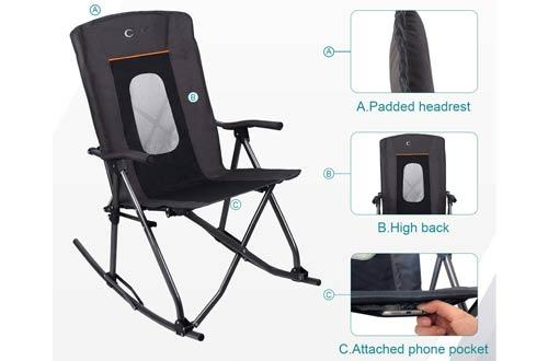 PORTAL Oversized QuadHigh BackFolding Camping Rocking Chairs