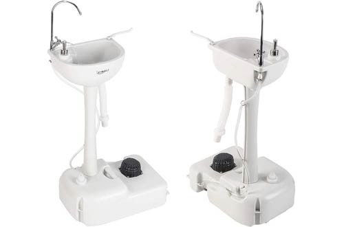 VINGLI Portable Sink for Camping - Rolling Hand Wash Basin Stand