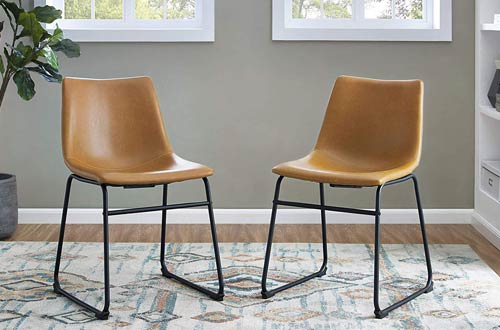 Walker Edison Furniture Company Industrial Faux Leather Dining Chairs with Metal Legs