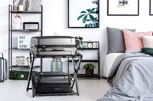 Tangkula Folding Metal Luggage Stand