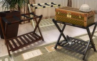 Casual Home Solid Wood Luggage Racks with Shelf