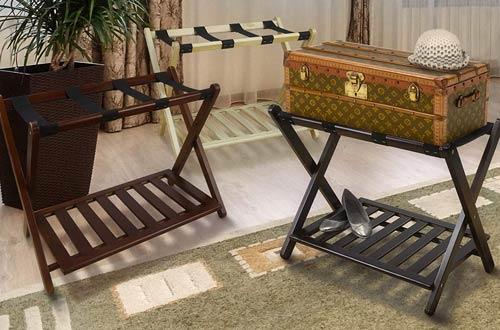 Casual Home Solid Wood Luggage Racks with Shelf