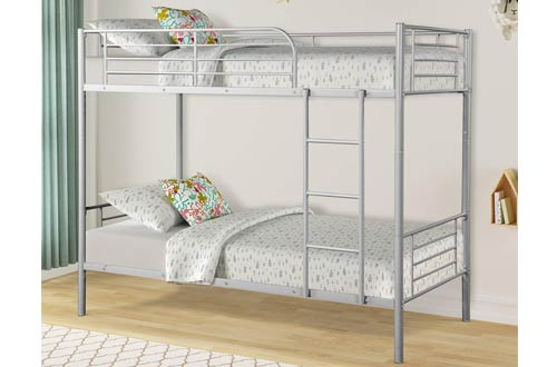 Rockjame Metal Bunk BedsTwin Over Twin -Twin Bed with Ladder and Safety Rail