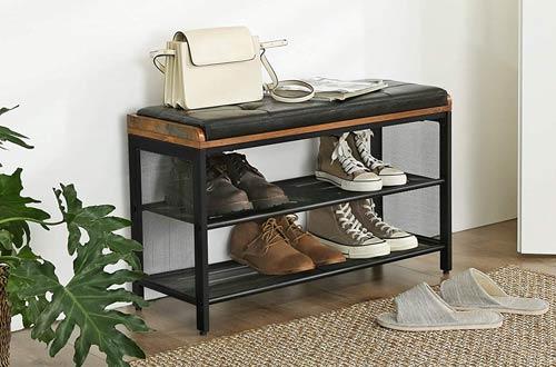 VASAGLE COPADIONMetal FrameShoe Storage Benches with Mesh Shelf