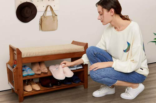 Home BudgetShoe Rack and Shoe Benches with Detachable Cushion for Entryway