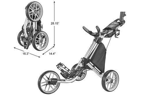 CaddyTek Foldable 3 Wheel Golf Push Carts
