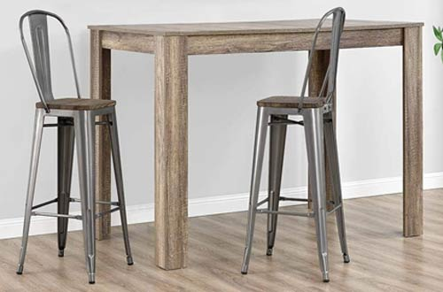 DHP Restaurant Metal Bar Stools with Backs and Wood Seat