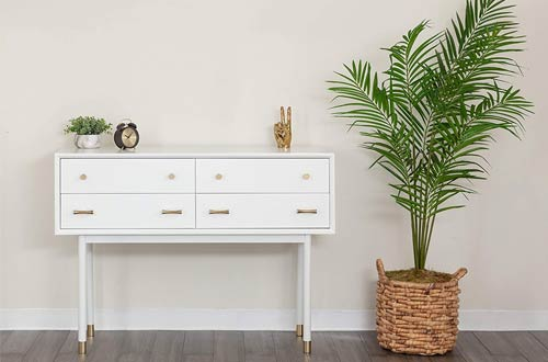 The Vine Square ModernWhite Console Table - Slim Sofa Table with Storage