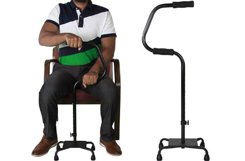 Easy Riser Large Base Quad Canes - Adjustable Height Mobility Aid - Standing Stability Base