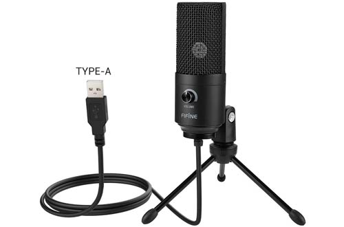 USB Microphone for Streaming - Fifine Metal Condenser Recording Microphone for Laptop MAC