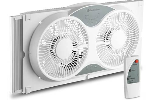 White Lotus Analin Dual Blade 9-Inch Twin Window Fan with Cover Portable
