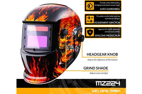 DEKOPRO Solar Powered Auto Darkening Welding Helmets for Mig Tig Arc Welder Mask Shield